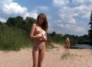 Beach nudist family